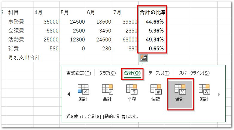20190126クイック分析ツールの合計タブ行の合計(比率)